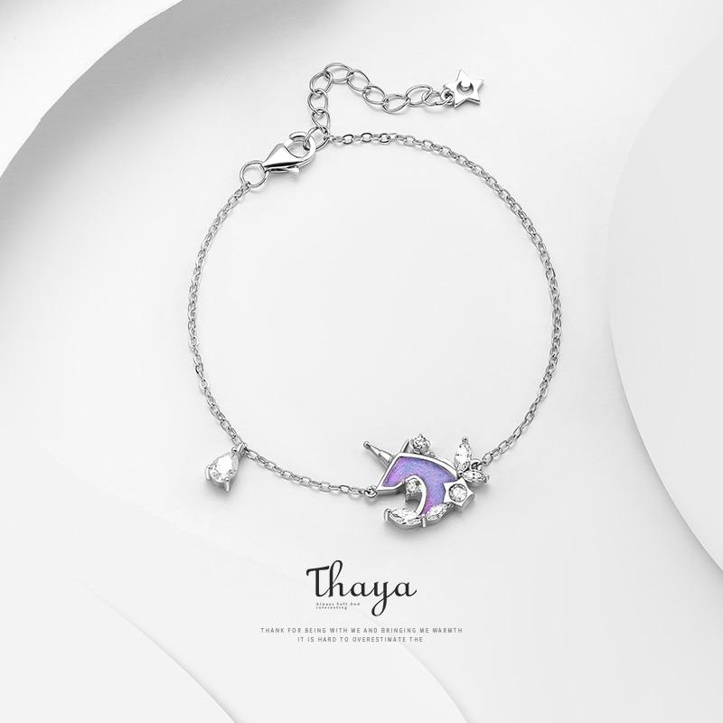 Thaya S925 Silver Unicorn Bracelet Thin Chain Crystal Drip Oil Handmade For Women Silver Bracelet Fine Luxury Jewelry Gift Drop
