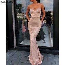 Женское вечернее платье русалка без рукавов длинное с блестками