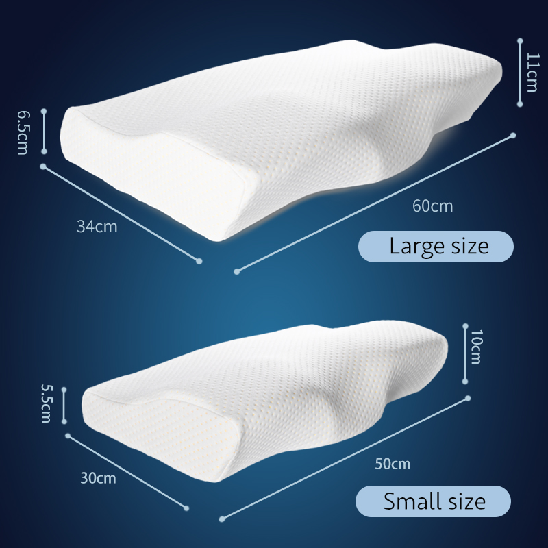 Memory Foam Bed Orthopedic Pillow Neck Protection Slow Rebound Memory Pillow Butterfly Shaped Health Cervical Neck Size 60/50 cm 4
