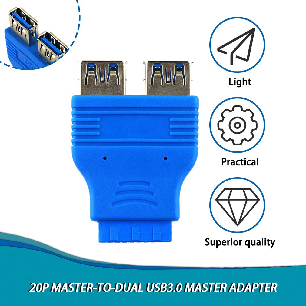 Motherboard 2 Ports USB 3.0 A Female To 20 Pin Header Female Connector Adapter USB 3.0 Compatible Data Transfer Rate Of 4.8 Gbps