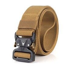 Belts AWMN for Men Metal-Buckle Thick Nylon Comfortable Quick-Release-Belt Canvas Military-Tactical-Belt