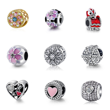 Silver Color Beads Charms Red Lion Pink Flower Heart With Crystal For Women Diy Pandora Charm Bracelet Necklace dropshipping 2020 new fashion silver beads bracelet blue flower floral crystal charms bracelet