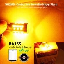 2 pces 3600lm âmbar 1156 ba15s p21w led 105smd para luzes de sinal de volta reversa 9-30v.