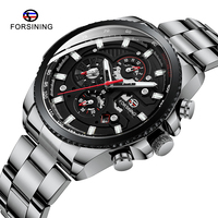 Marca superior forsining masculino relógio de pulso automático mecânico militar relógio de aço inoxidável à prova dwaterproof água relógio relogio masculino|Relógios mecânicos| |  -
