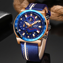 New LIGE 2019 Casual Leather Mens Watches Top Brand Luxury Men's Sports Watch Men Blue Waterproof Quartz Watch Relogio Masculino цена 2017