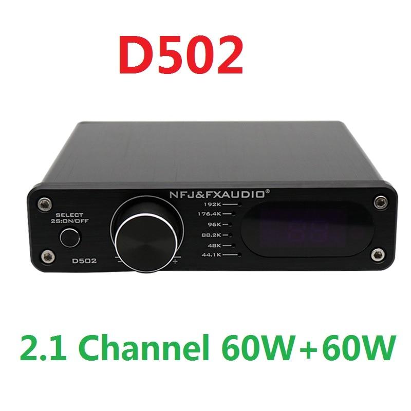 2020 FX-Audio New D502 Digital Audio Power Amplifier 2.1 Channel Subwoofer Output High Power Amplifier 60W+60W Remote Controller