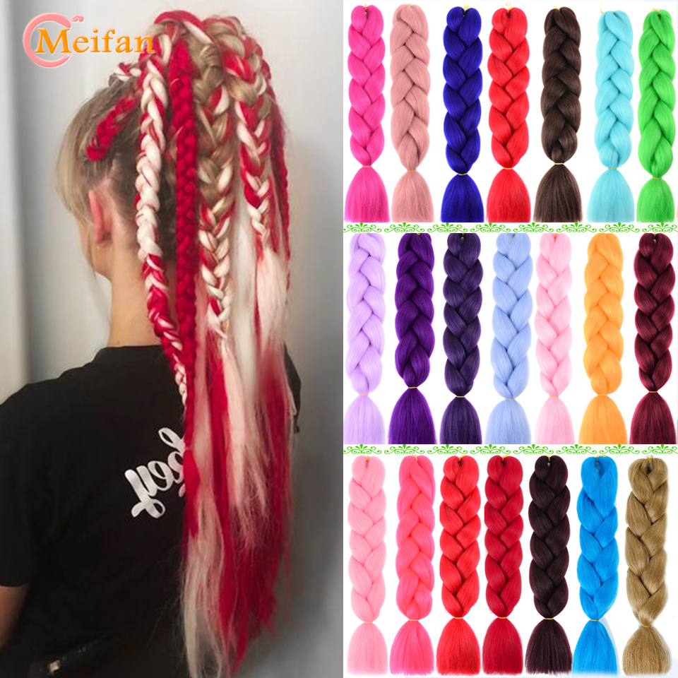 MEIFAN Pink Blue Purple Synthetic Crochet Hair Jumbo Braid Kanekalon Soft Hair Ombre Crochet Braiding Hair Extension For Braid