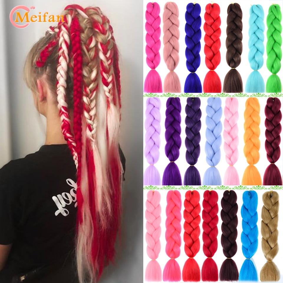 MEIFAN Pink Blue Purple Synthetic Crochet Hair Jumbo Braid Kanekalon Soft Hair Ombre Crochet Braiding Hair Extension For Braid
