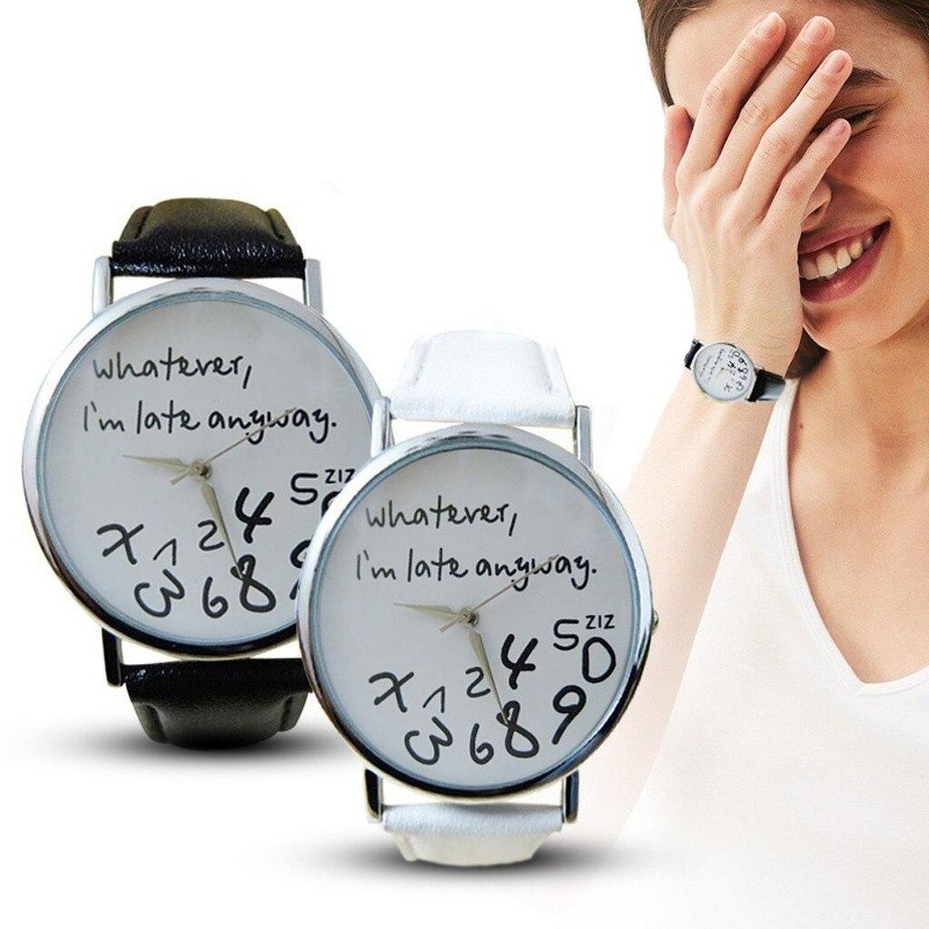Fashion Funny Women Men Watches Whatever,I''m Late Anyway Dial Quartz Wristwatch Casual Student Watch Gifts Zegarki Damskie /d