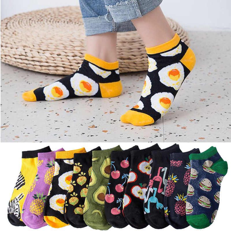 Art Socks Women Funny Cute Design Painting Harajuku Skateboard Female Cotton Socks Woman Zebra Poached Egg Avocado Socks