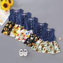 Модные платья для девочек из джинсовой ткани весеннее детское