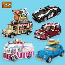 LOZ cegły MINI klocki samochód miejski Model samochód wyścigowy 2 w 1 zabawki figurkowe dla dziecka z kolekcją i wartością edukacyjną