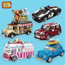LOZ minibloques de coche de carreras para niños, modelo de coche de Ciudad, figurillas 2 en 1, juguetes para niños con colección y valor educativo