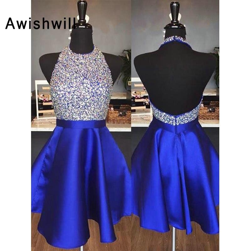 Fashion 2020 Homecoming Dresses Beadings Halter Open Back Satin A line Short Prom Dress Vestido Formatura Curto Homecoming Dresses     - title=