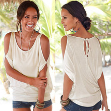 купить Tees Women Summer T shirts 2019 Casual T-shirt Sexy Off Shoulder Tops Batwing Short Sleeve Lace up Solid O-neck Lady Loose Tops дешево