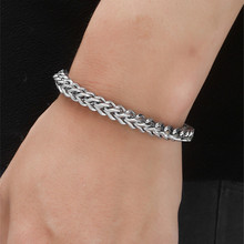 Stainless steel jewelry domineering personality positive and negative twist chain thick mens bracelet keel