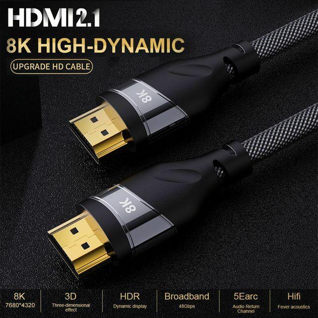 HDMI 2.1 4K 120HZ hdmi عالية السرعة 8K 60 HZ UHD HDR 48Gbps كابل HDMI Ycbcr4: 4: 4 النحاس 30AWG محول لأجهزة العرض PS4 HDTVs