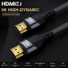 HDMI 2,1 4K 120HZ hdmi High Speed 8K 60 HZ UHD HDR 48Gbps kabel HDMI Ycbcr4: 4: 4 kupfer 30AWG Konverter für PS4 HDTVs Projektoren