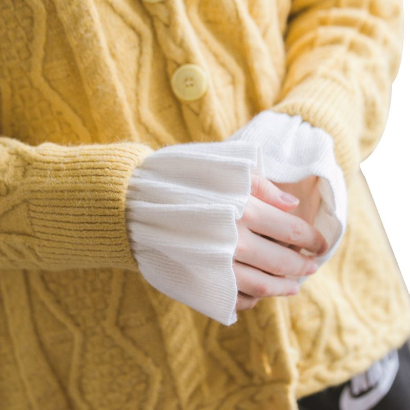 2020 New 2pcs/pair Knitted Fake Cuff Gloves Women Girls Korean Style Big Wave Wrist Decor