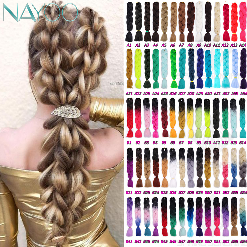 Nayoo Hair Synthetic Hair Jumbo Braids Crochet Braiding Hair 24Inch Long Ombre Synthetic Braid Hair Extensions For Woman