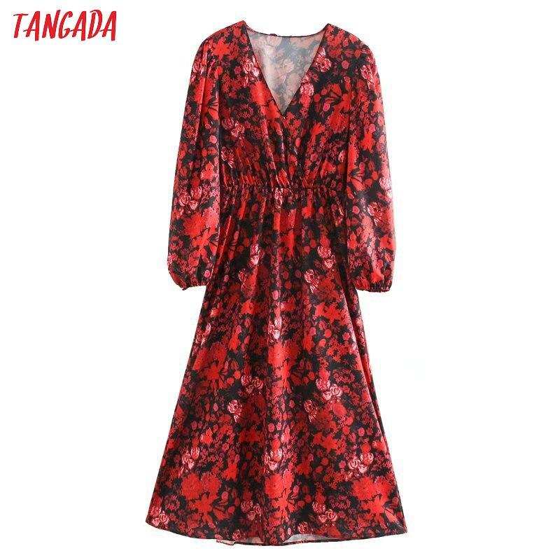 Tangada Fashion Women Red Flowers Print Dress Spring New Arrival V Neck Long Sleeve Ladies Tunic Midi Dress Vestidos 5Z131