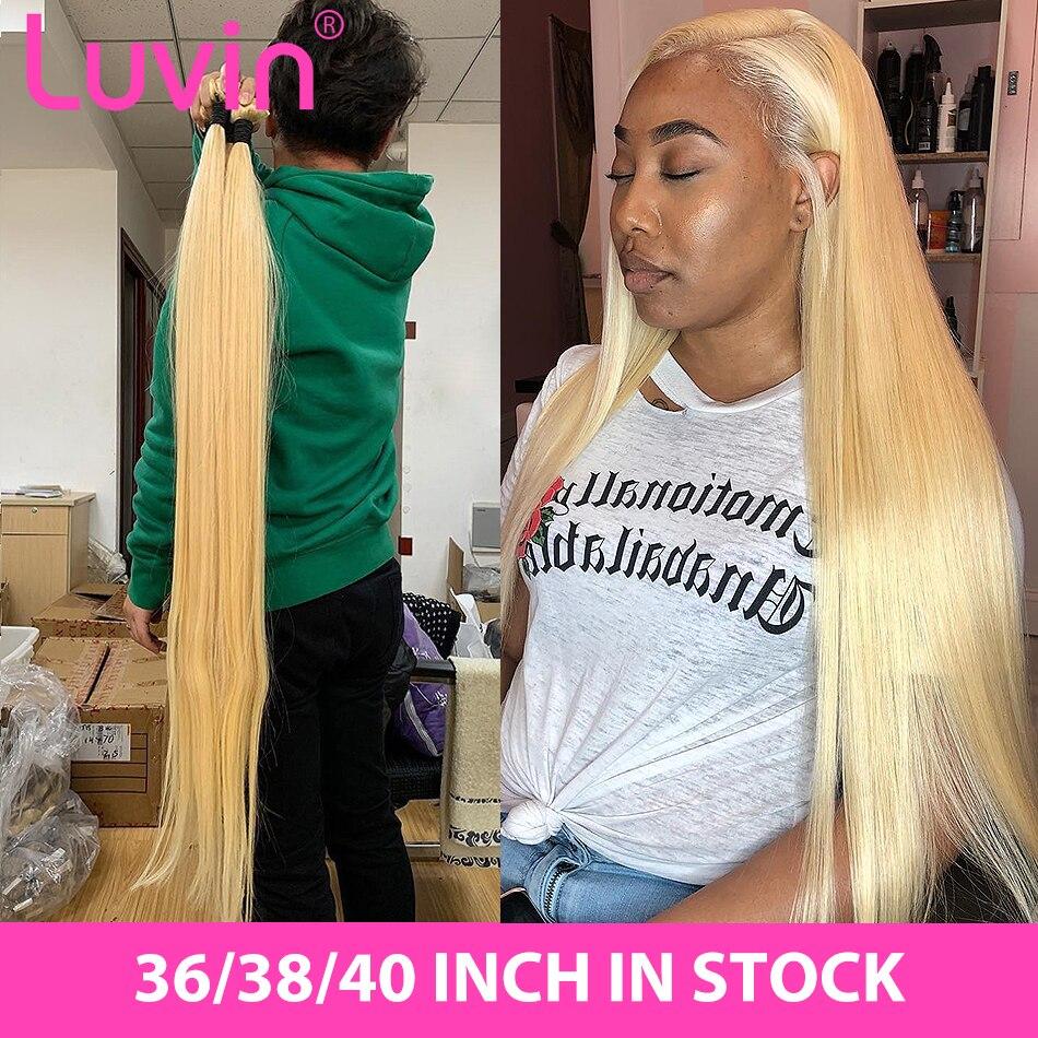 Luvin Straight 28 30 32 34 40 Inch Brazilian Remy Hair 613 Blonde 1 3 4 Bundles Long Human Hair Weave Bundles Free Shipping