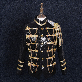 Military Style Sequins Men Formal Coats Gold Chains Men Performance Court Suit Party Dress Blazers Chorus Singer Stage Costumes
