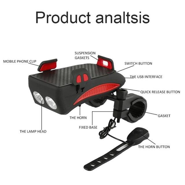 BikeTool - 4 in 1 Bicycle Phone Holder (Phone Holder, Power Bank, Headlights, Horn) 3