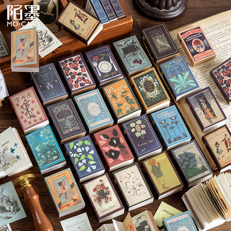 200 Sheets Retro Style Mini Memo Pad Novelty Matchbox Vintage Notebook Tearable Message Notes Kawaii Stationery School Supplies
