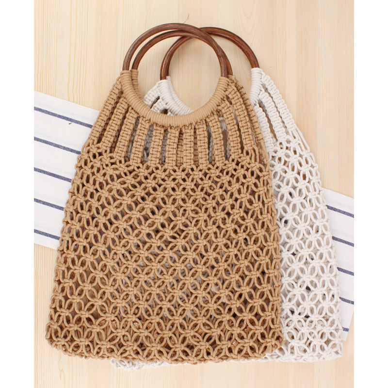 Lovevook Woven Bags Female Handmade Women Handbags Beach Bags With Wooden Top-handle Summer Straw Bags For Travel Bohemia Cotton