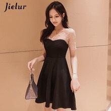 Jielur черные платья женские элегантные женские повседневные жемчужные бисероплетенные сетчатые Лоскутные трапециевидные платья корейские летние сексуальные платья Verano платье нарядное платье шифоновое