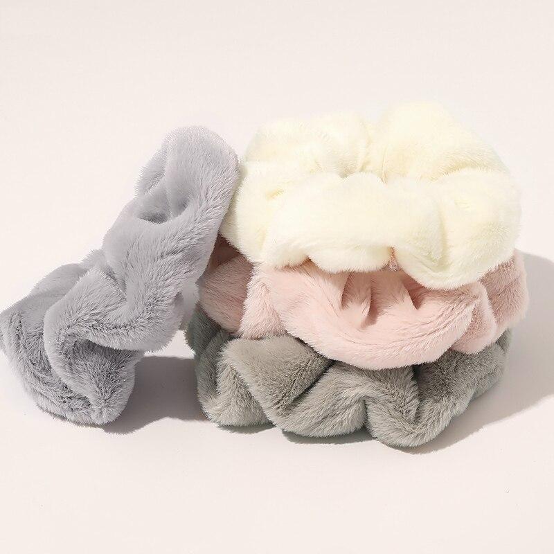 Новинка, Теплая эластичная резинка для волос, мягкая резинка из искусственного меха для женщин и девочек, держатель для волос Ponytai, канатная ...
