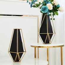American Golden Wrought Iron Vase  Light Luxury Galvanized Metal Living Room Entrance Dining Table Furnishing  Black Flower Pot american country wrought iron wood console table desk side table living room entrance metal crafts