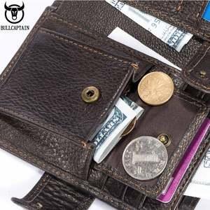 Image 4 - Cartera de cuero BULLCAPTAIN RFID para hombre, billetera corta con tres pliegues y cremallera, cartera, bolsillo para monedas con clip