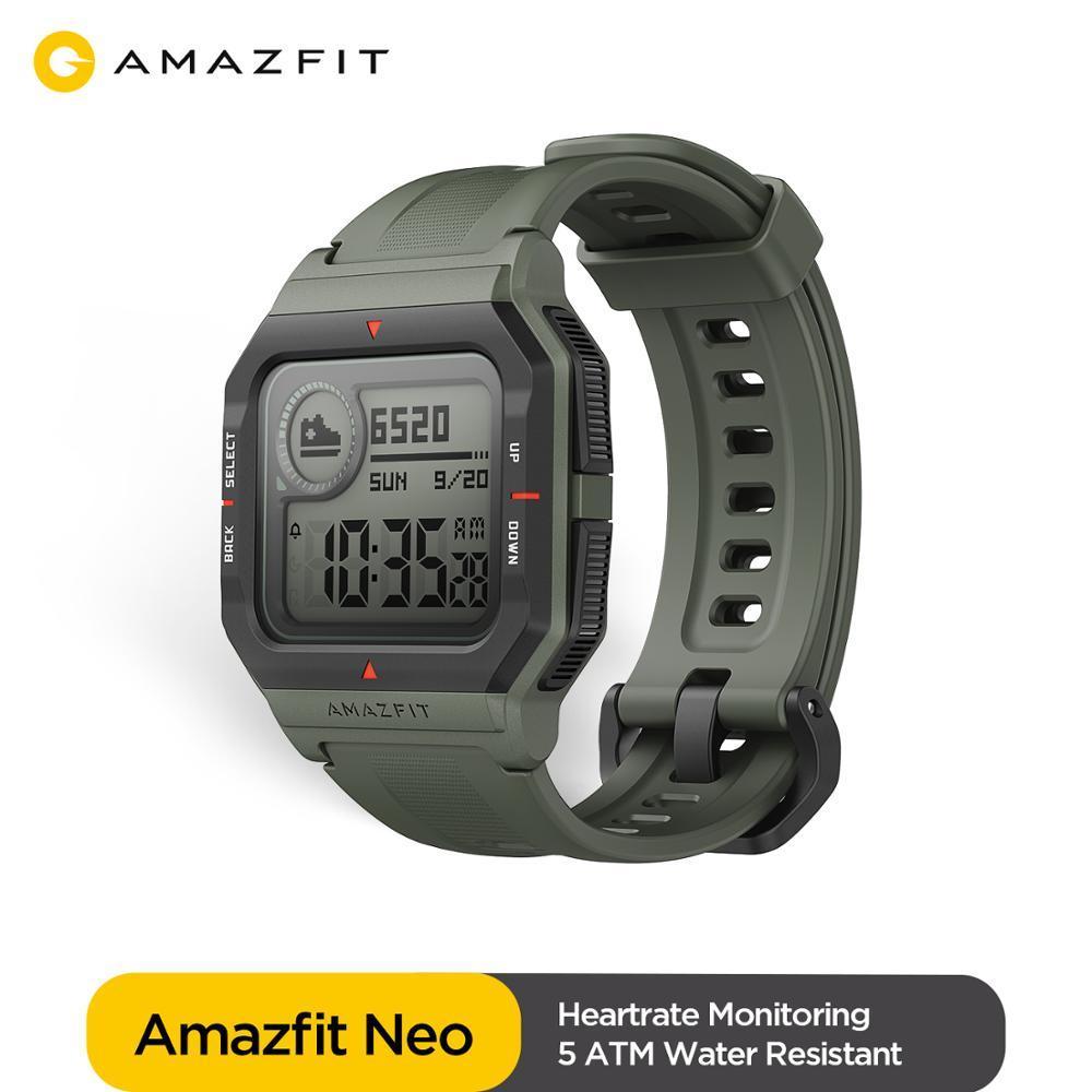 Global Amazfit Neo Fashion Smartwatch Retro Design 28 Days Battery Life 5ATM  Heart Rate Sleep Tracking Fashion Smart Watch