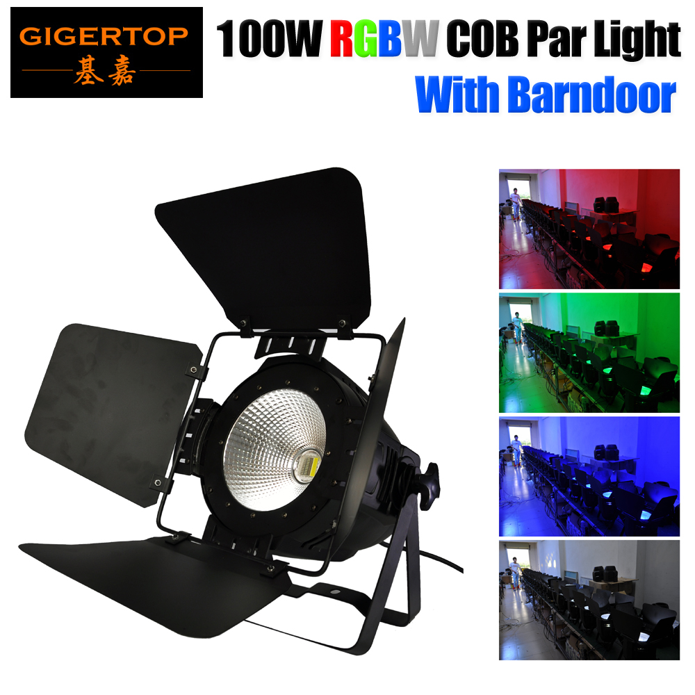 Gigertop 100W RGBW 4 Color COB Led Par Light With Barndoor Light Cover DMX512 Control 4/8 Channels 4IN1 RGBW Stage Lighting