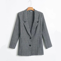 Women Fashion Houndstooth Casual Jackets Women Elegant Long Sleeve Suits Female Ladies  High Street Womens Tops and Blouses