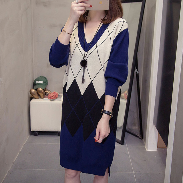 Plus Size Argyle Pattern Pullovers Long Sweaters Women Fashion V neck Knit Dress Oversized Vintage Patchwork Lady Knitted Jumper