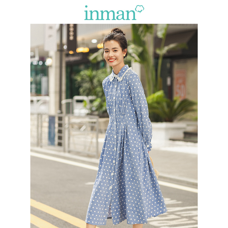 INMAN Winter Lace Turn Down Collar Literary Point Defined Waist A-line Women Dress