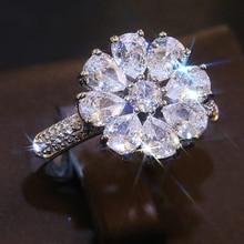 Modyle moda elegante blanco Flor de cristal anillo de mujer, joyería, accesorios de lujo Zircon anillo de compromiso regalo de fiesta