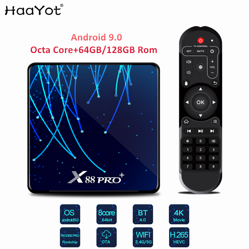 HAAYOT Android 9 TV Box Octa Core Media Player Box RK3368 Octa-core 4GB 64GB/128GB Rom 4K IPTV Box X88 Pro+ Set Up Box TV