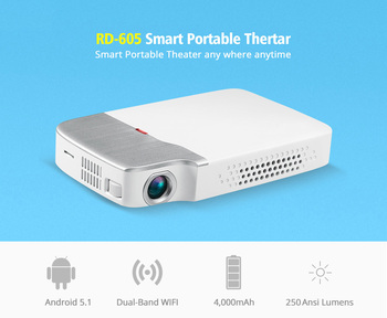 цена на RD-605 Portable Projector DLP Mini Android Projector HD 1080P 150 ANSI lumens easy to carry home Android Projector with battery