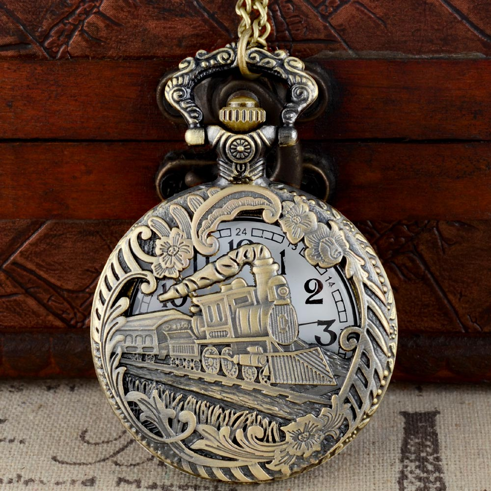 IBEINA Vintage Bronze Charming Train Carved Openable Hollow Steampunk Quartz Pocket Watch Men Women Necklace Pendant Clock Gifts