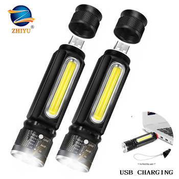 ZHIYU USB Rechargeable Led Flashlight, Magnetic Flashlights 18650 Led Flash Light, Small Tactical Flashlight Zoomable High Lumen
