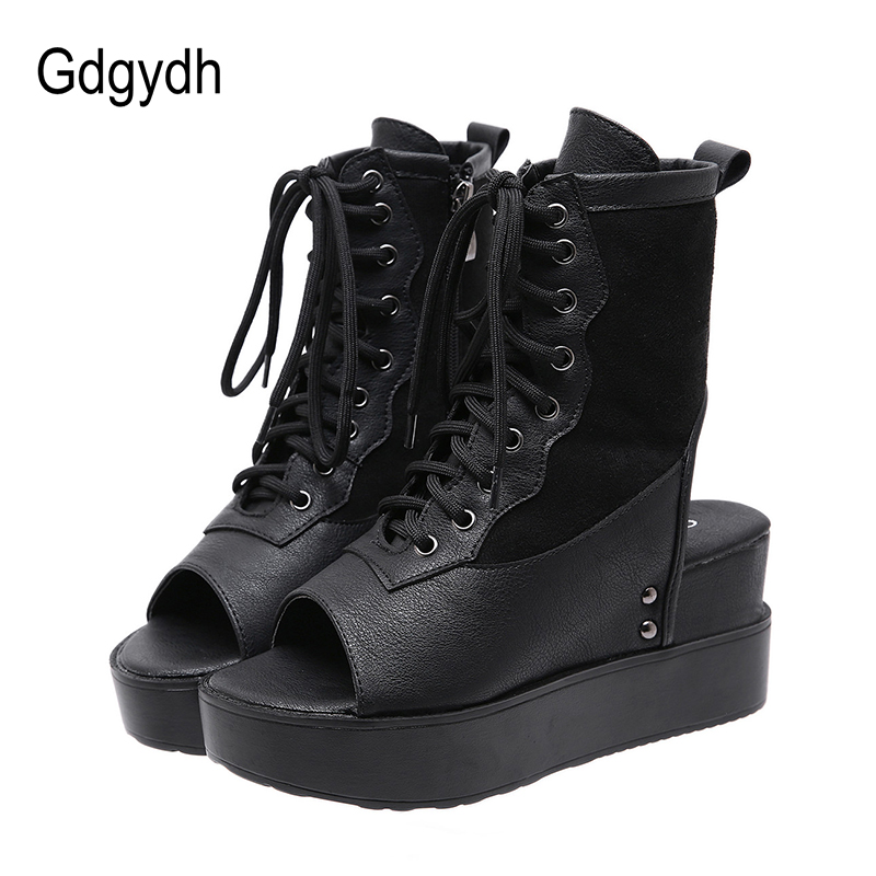 Gdgydh Europeans Style Summer Boots Open Toe Roman Shoes For Women Wedges Gladiator Shoes Heels Lace-up Slingbacks With Zipper