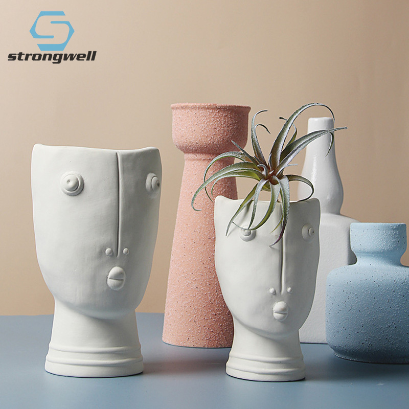 Strongwell Nordic Abstract Human Face Ceramic Flower Pot White Hand Painted Flowerpot Creative Home Decoration Living Room Gift