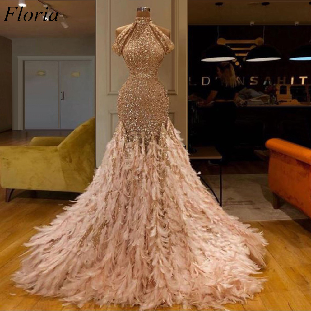 New Arrival Champagne Middle East   Prom     Dress   2019 Feathers Glitter Mermaid Evening   Dress   Arabic vestidos de fiesta de noche