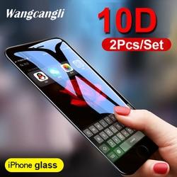 2 sztuk/zestaw 10D folia ochronna do szkła iPhone7 8 ochraniacz ekranu HD przezroczysty twardy szkło film na pełnym ekranie szkła hartowanego film