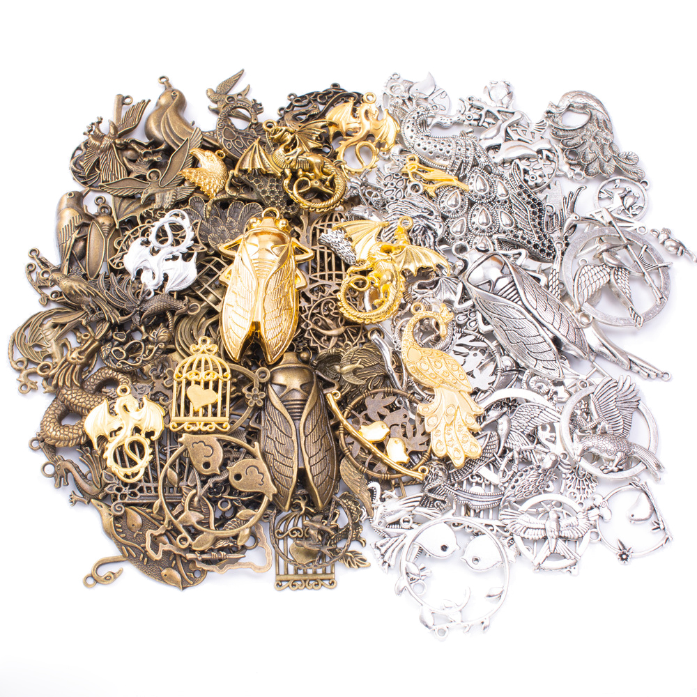 50g 100g Mixed Flying Animals Insects Butterfly Metal Charms Pendants Vintage Antique Bronze Bracelets Necklace For Jewelry DIY