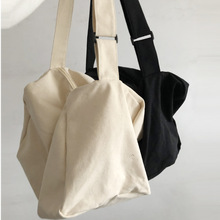 Solid Color Thin Canvas Bag Simple Women Package Japanese Literary Shoulder Bag Casual Shopping Tote Girl Handbag